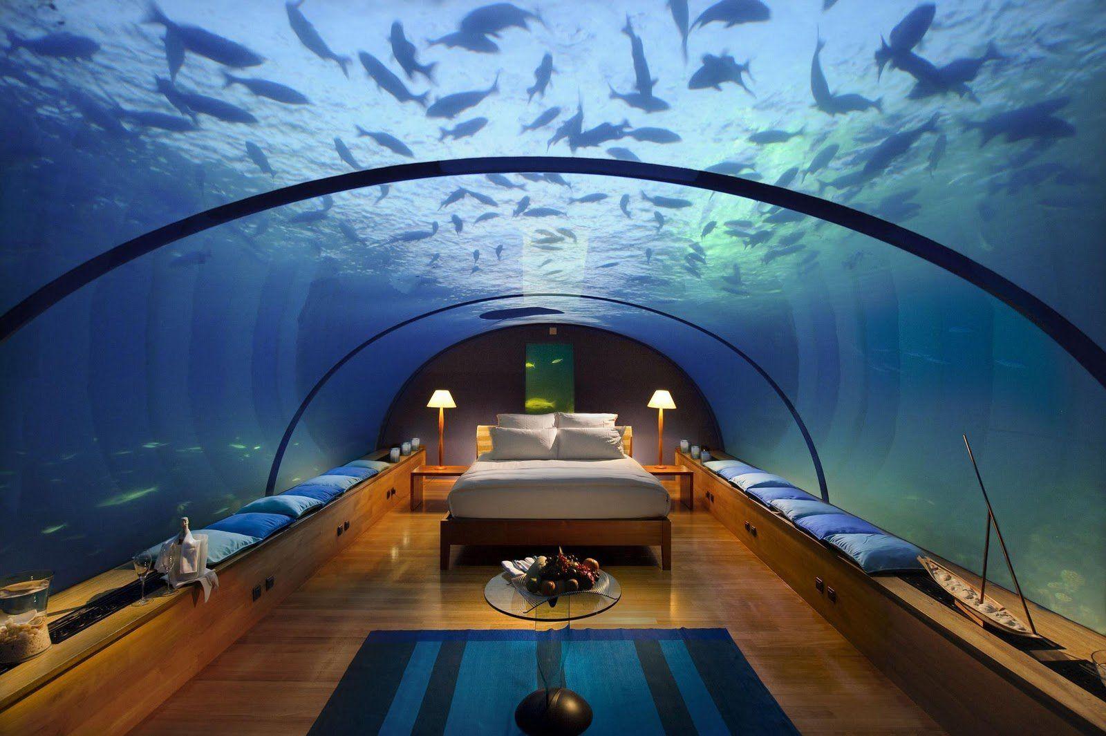 Habitaciones de hotel para dormir bajo el agua